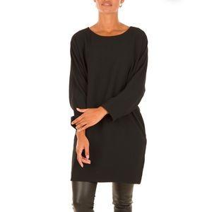 IRO Alyx Crepe 3/4 Sleeve Tunic Mini Dress - Black